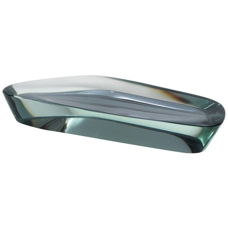 Cut and Polished Mirrored Glass Abstract Dish by Fontana Arte, 1950s