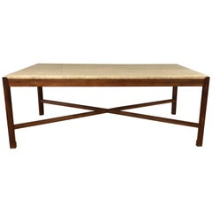 Danish Rosewood and Travertine Vintage Coffee Table