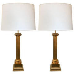 Pair of Lamps  Brass Neo Classical Column by Jordan. United Kingdom, 1980s