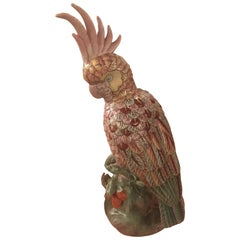 Tropical Palm Beach Pink Porcelain Parrot Bird Statue