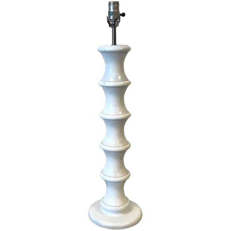 1970s White Metal Faux Bamboo Lamp