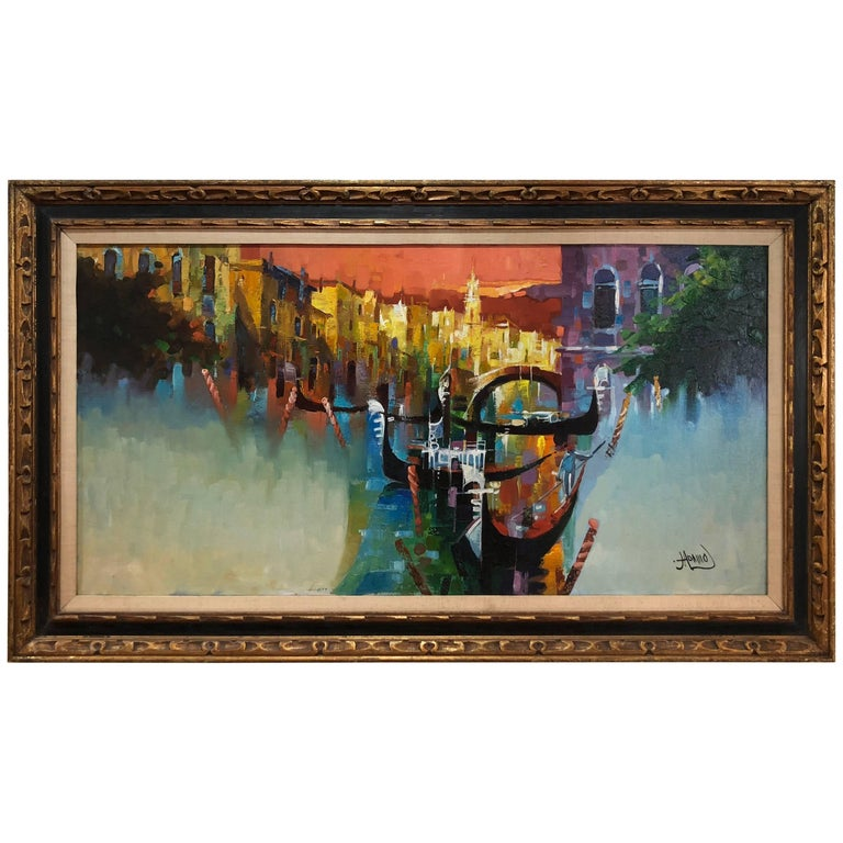 Large Mid-Century Modern Painting of Venice