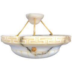 Chic 1920s Italian Carved Marble Chandelier with Greek Key Design