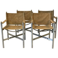 1960s Italian Chrome and Tan Suede Leather Chairs, Set of Four