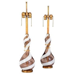 Pair of Dino Martens Mezza Filigrana Lamps