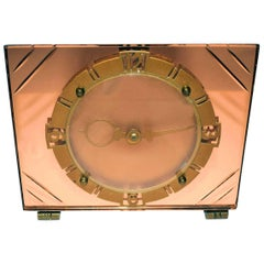 Gold Mirrored Glass Art Deco Clock By New Haven Clock Company At 1stdibs