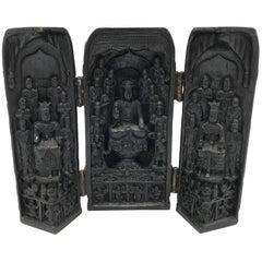 1970s Asian Buddha Temple Shrine Trifold Resin Sculpture
