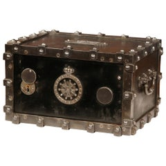 19th Century, French Polished Cast Iron Safe with Key and Combination Dated 1865