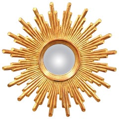 Mid-20th Century French Carved Giltwood Sunburst Mirror with Convex Glass