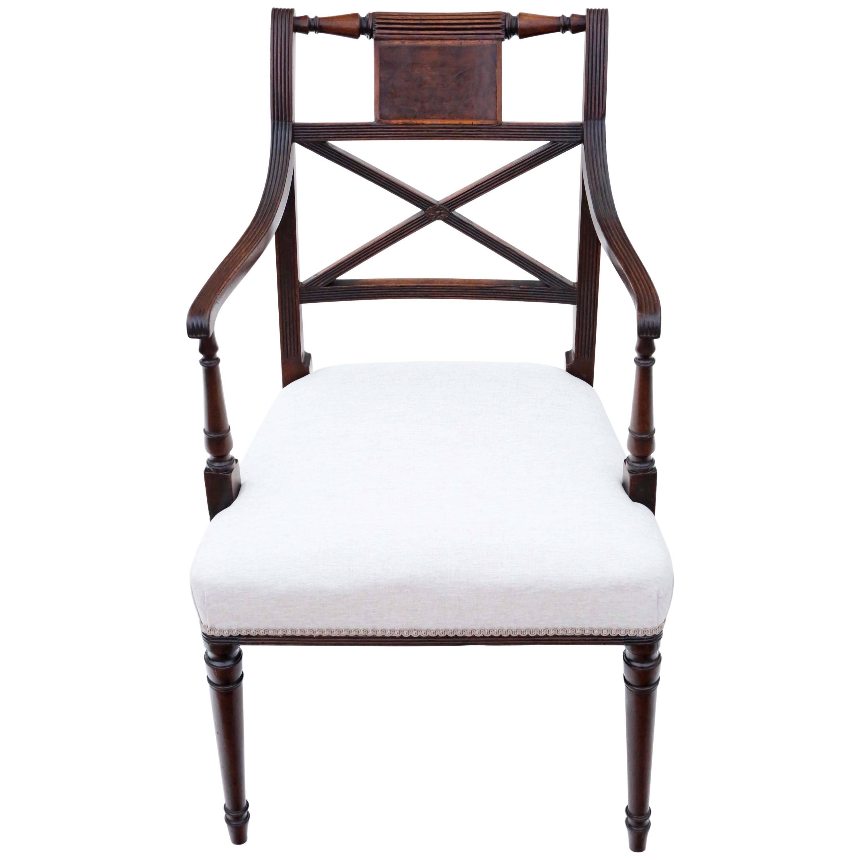 Antique Fine Quality Regency, Circa 1825 Mahogany Elbow Desk Carver Chair