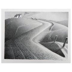 "Grant Wood Original Stone Lithograph, 1941 ""March"""