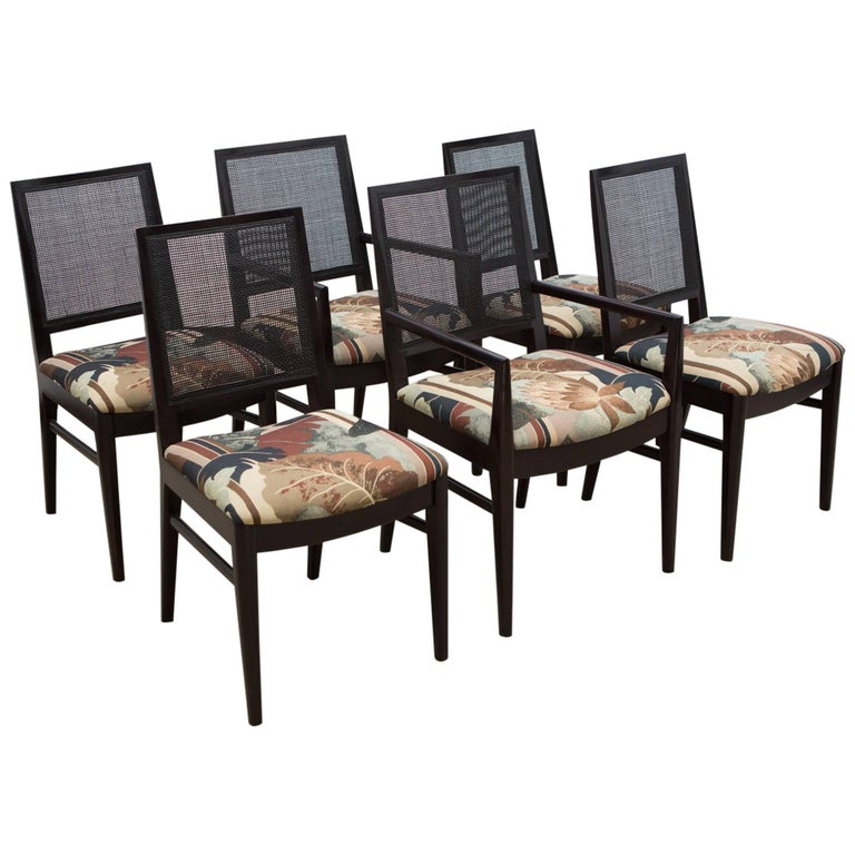 Set of Six Midcentury Dining Chairs with Cane Back 1