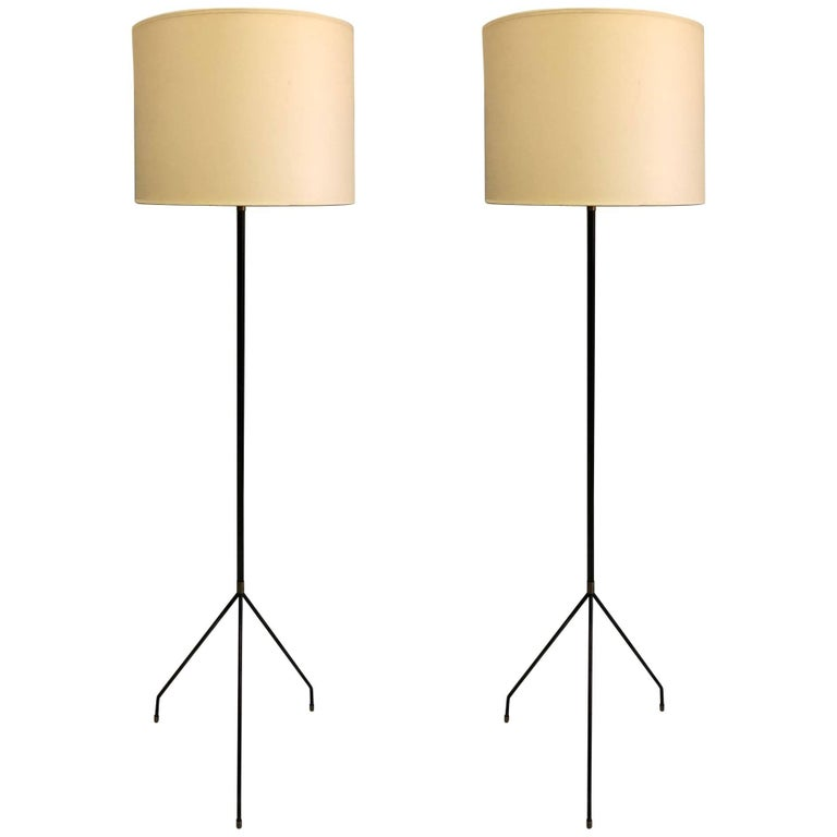Pair of French Mid-Century Modern Iron Floor Lamps Attributed to Pierre Guariche