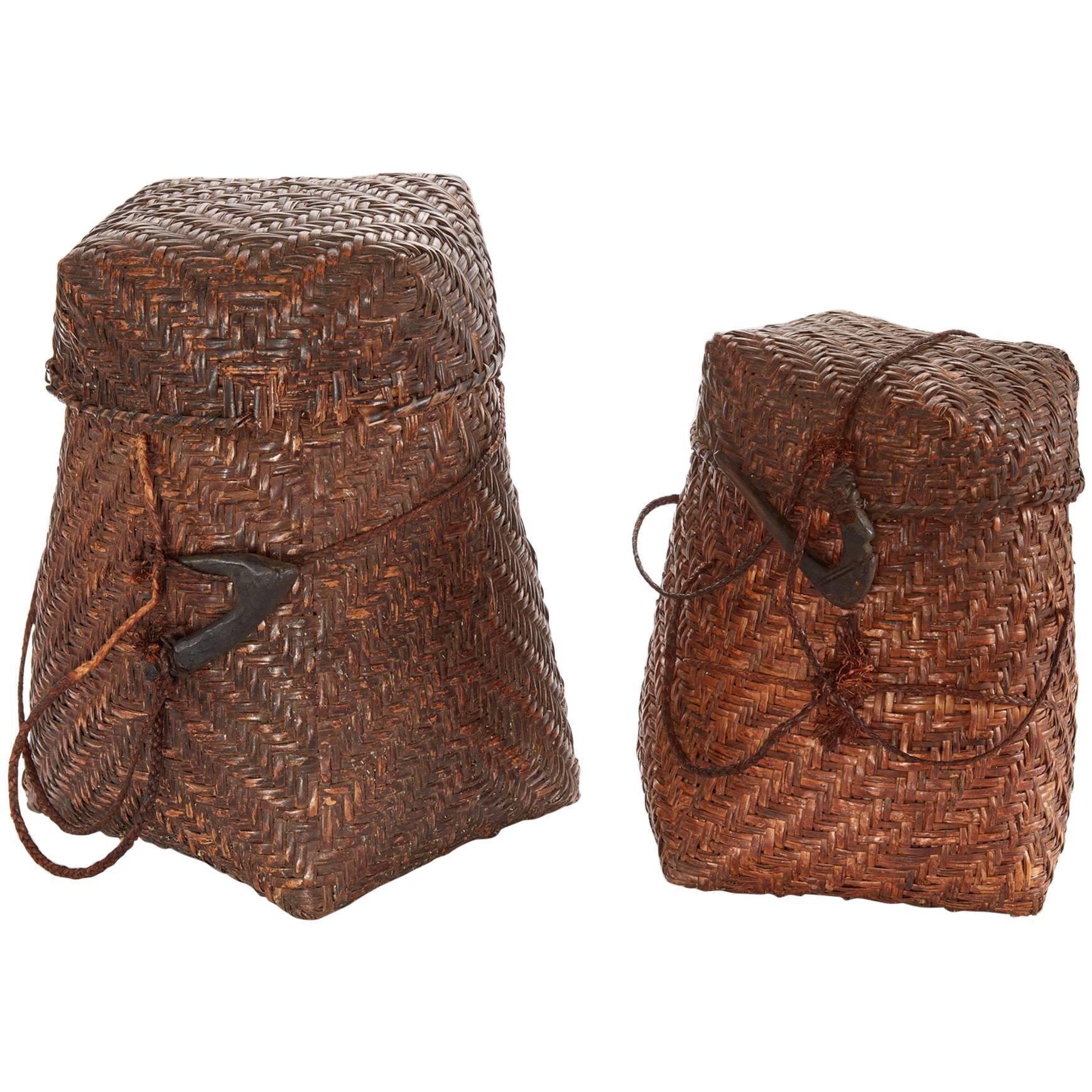 Pair Of 20th Century Woven Nigerian Baskets