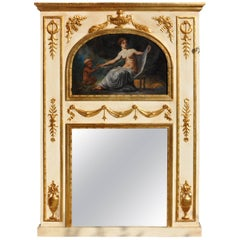 19th Century Mirror in Wood and Pastel, Lacquered, Gold-Plated