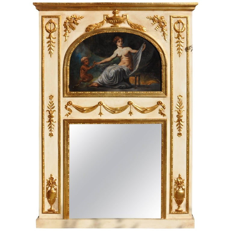 19th Century Mirror in Wood and Pastel, Lacquered, Gold-Plated For Sale