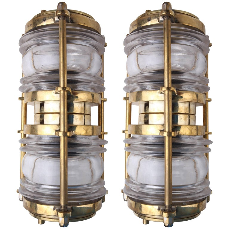 Pair of Brass, Double Light Ship's Lights with Fresnel Lens
