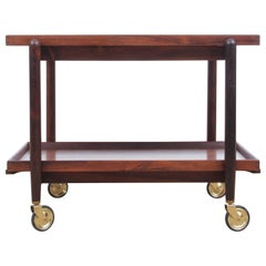 Midcentury Danish Serving Cart in Rosewood by Poul Hundevad