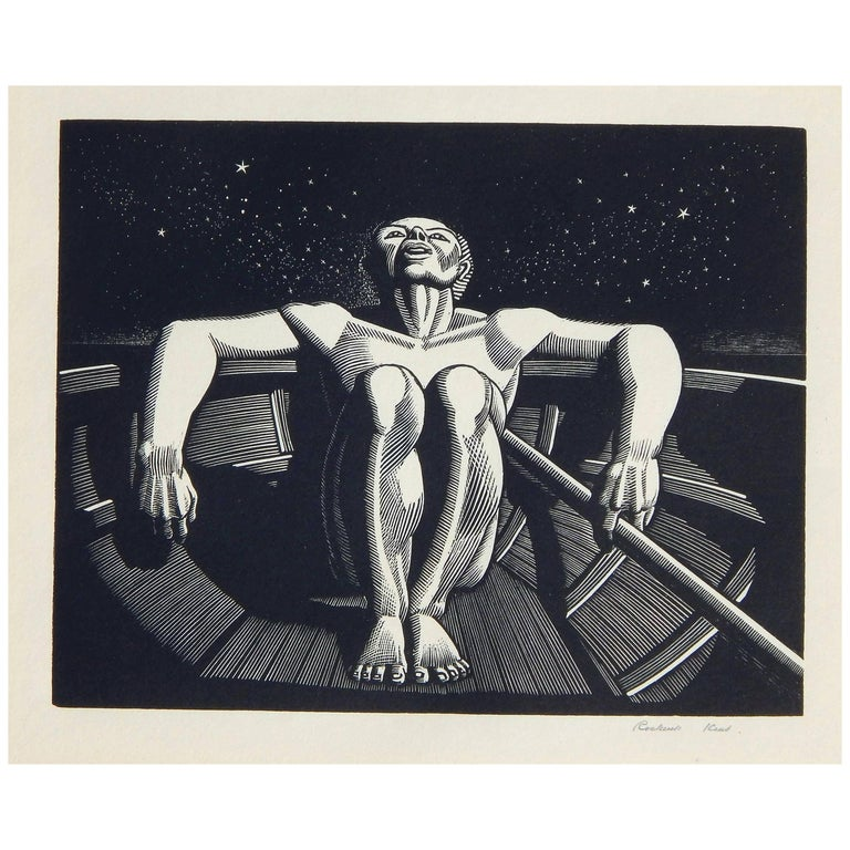 "Rockwell Kent Original Wood Engraving, 1933 ""Drifter"" For Sale"