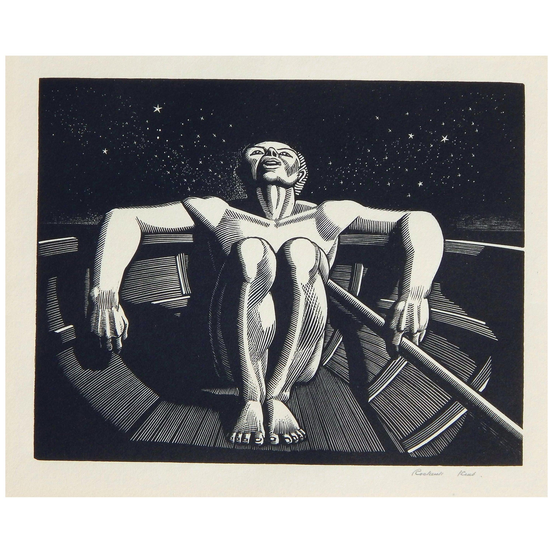 """Rockwell Kent Original Wood Engraving, 1933 """"Drifter"""""""