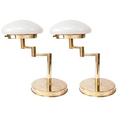 Pair of Mid-Century Modern Adjustable Brass Table Lamps with Milk Glass Shades