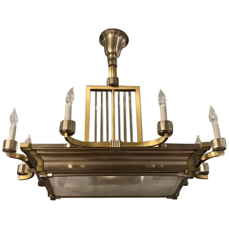 French Art Deco Modernist Two-Tone Brass and Nickel Chandelier