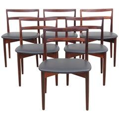 Mid-Century Modern Scandinavian Set of Six Rosewood Chairs Model 61 by Harry Øst