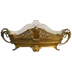 19th Century Gilt Centrepiece with Cut-Glass Insert