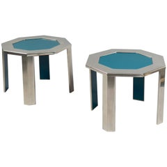 Pair of Steel and Formica Side Tables, France, 1970s
