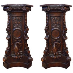 Pair of Marble-Topped Pedestals