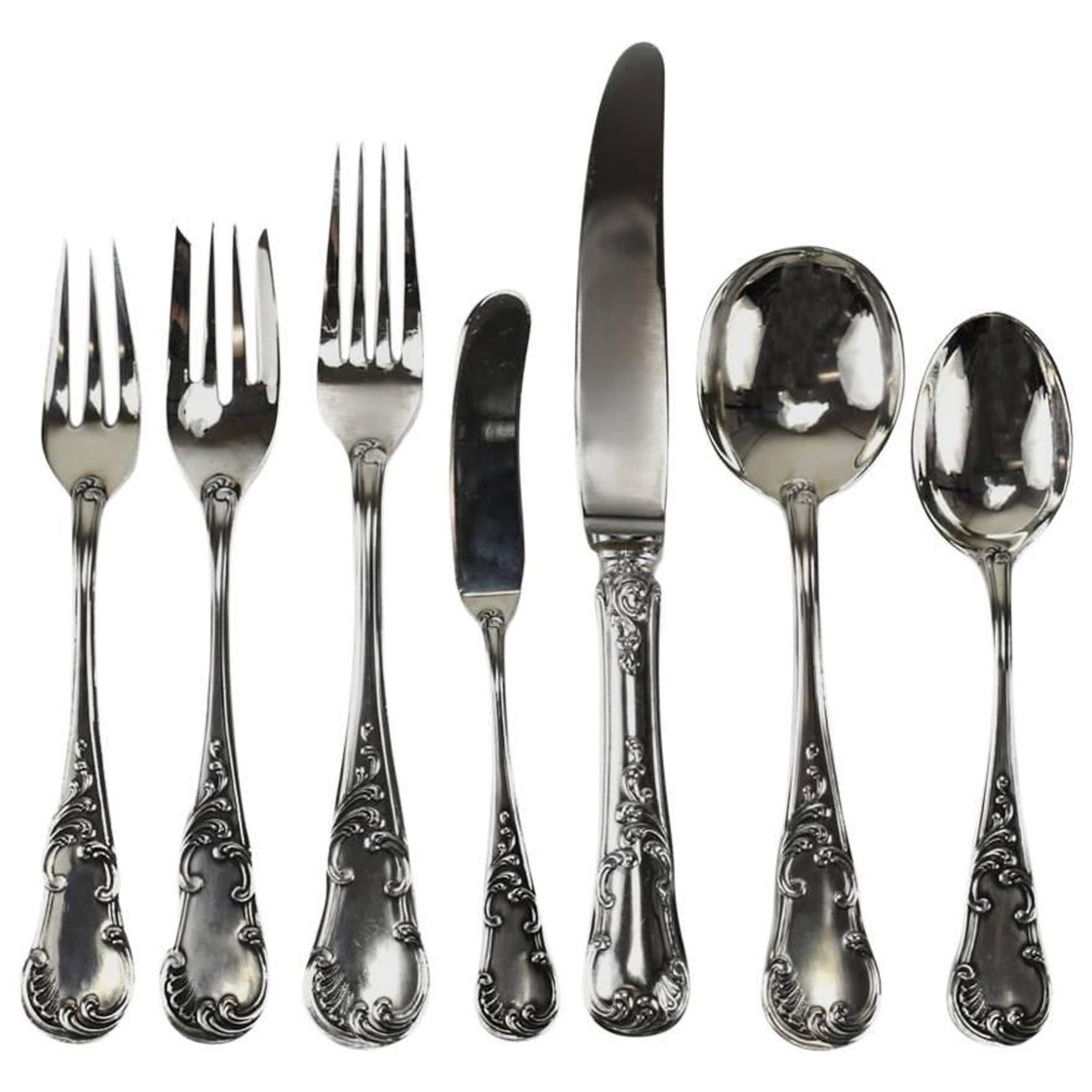 97ddc4db51eb0 Seven-Piece Sterling Silver Flatware Service for 12 in Quirinale by  Buccellati For Sale at 1stdibs