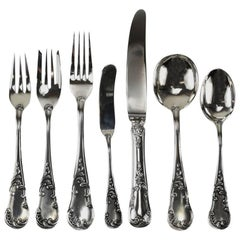 Seven-Piece Sterling Silver Flatware Service for 12 in Quirinale by Buccellati