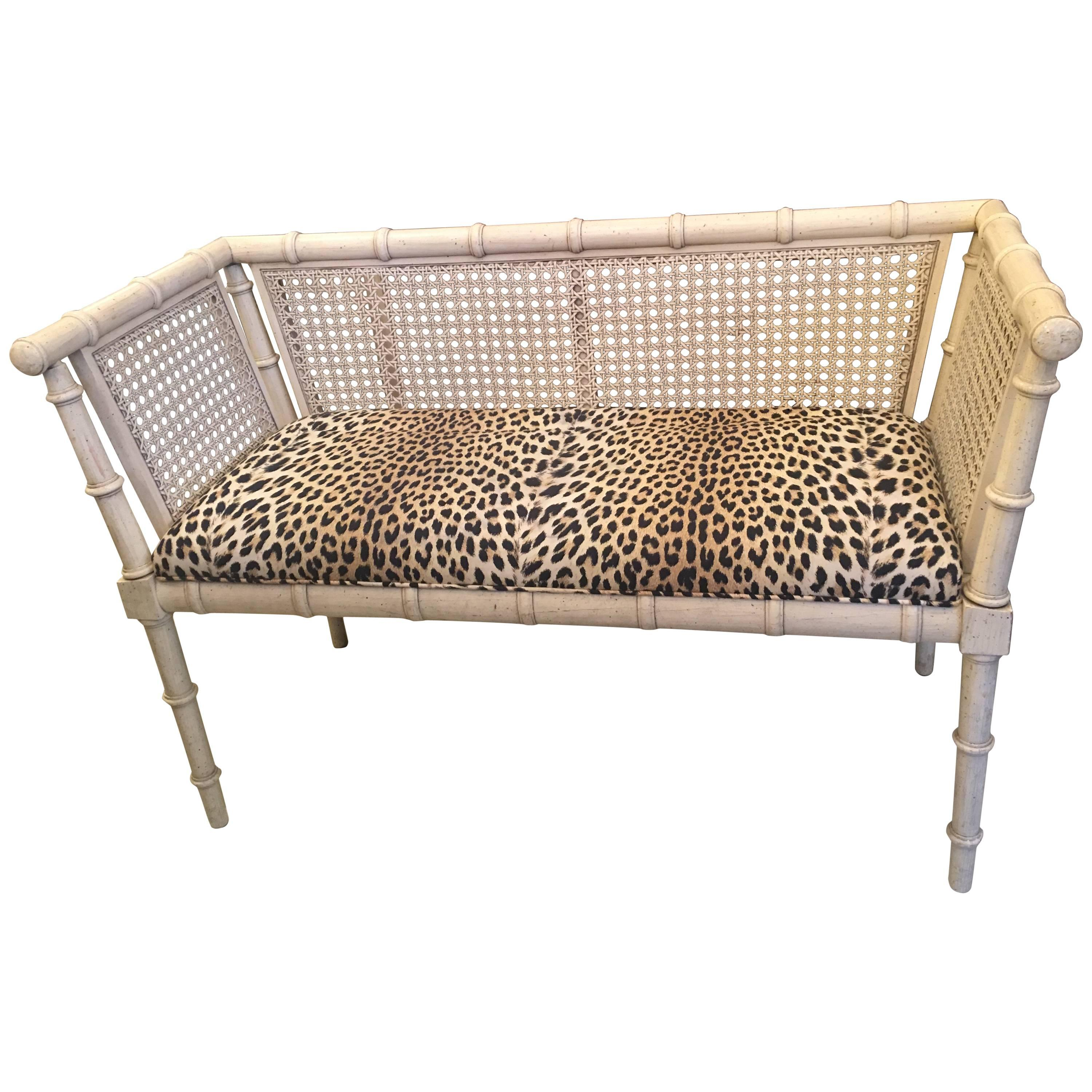 Midcentury American Bamboo and Caned Settee