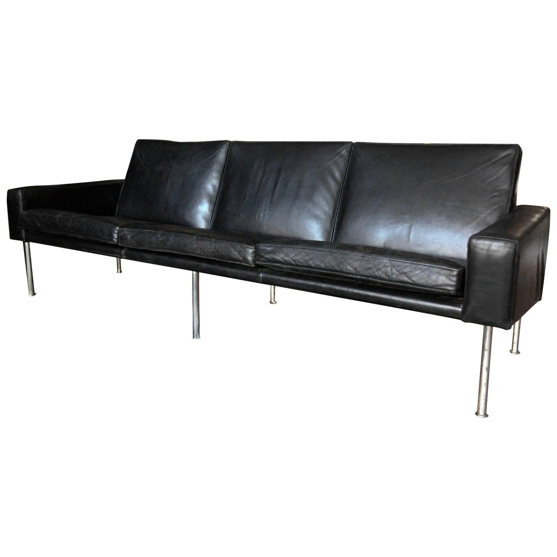Hans j wegner sofas 80 for sale at 1stdibs hans j wegner black leather airport ap 343 sofa denmark 1960s parisarafo Choice Image