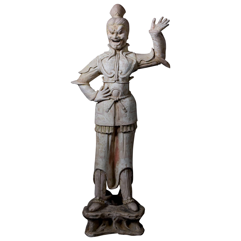 Tang Dynasty Imposing Terracota Lokapala Standing in Menacing Pose - TL Tested
