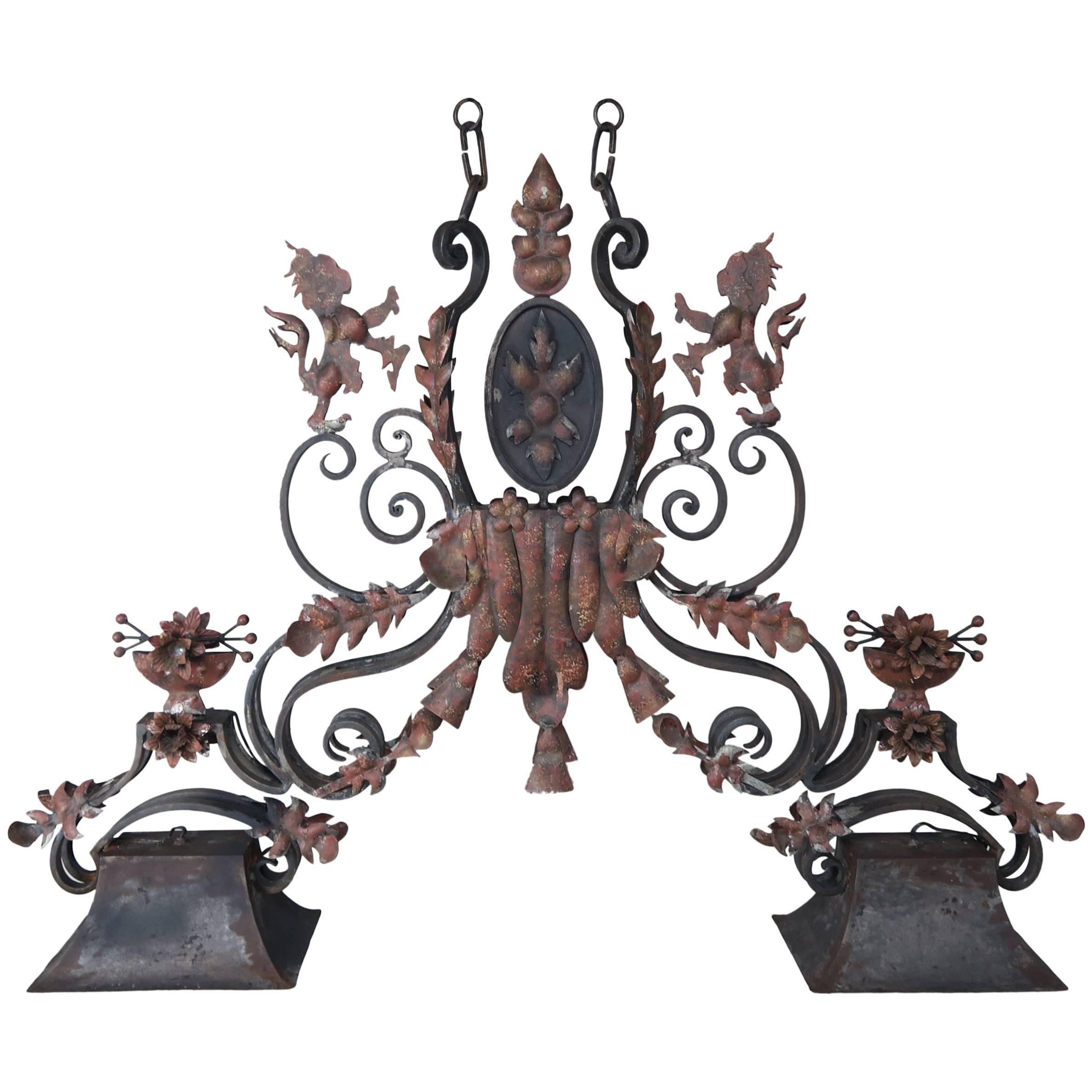 Charmant Wrought Iron French Billiard Table Light Fixture For Sale