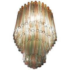 Venini, 1955 Chandelier Murano Glass Ambra and Green