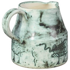 Ceramic Jug with Animals Decoration by Jacques Blin