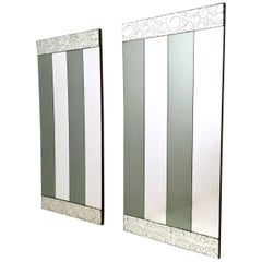 Pair of Striped Rectangular Wall Mirrors with Wooden Frame, Italy, 1970s