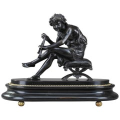 Bronze Young Shepherd Playing the Flute by Jules Salmson