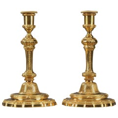 19th Century Gilt Bronze Candlesticks in Regence Style