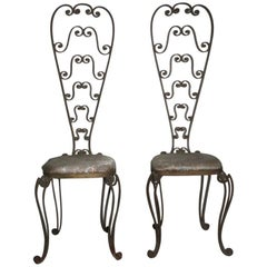 Pair of High Backrest Metal Chairs by Pier Luigi Colli