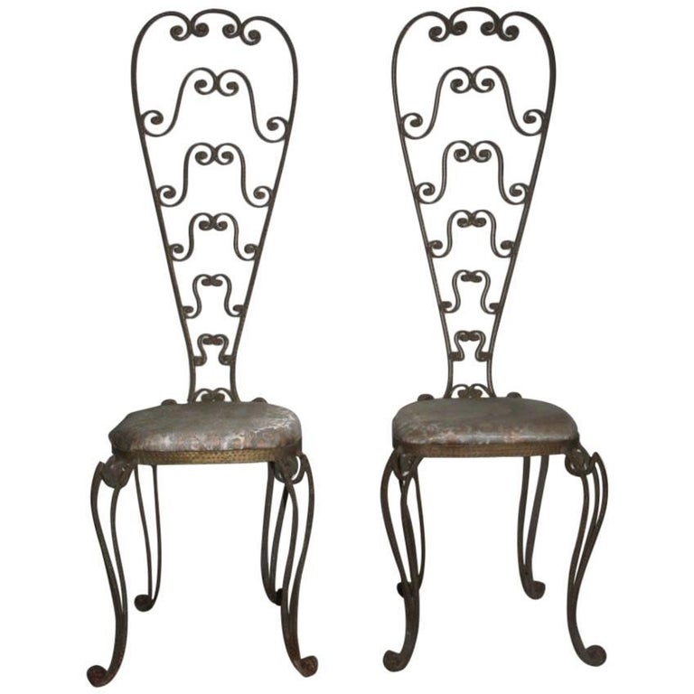 Pair of High Backrest Metal Chairs by Pier Luigi Colli For Sale