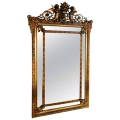 Late-19th Century French Louis XV Carved Gold Leaf Wall Hanging Parclose Mirror