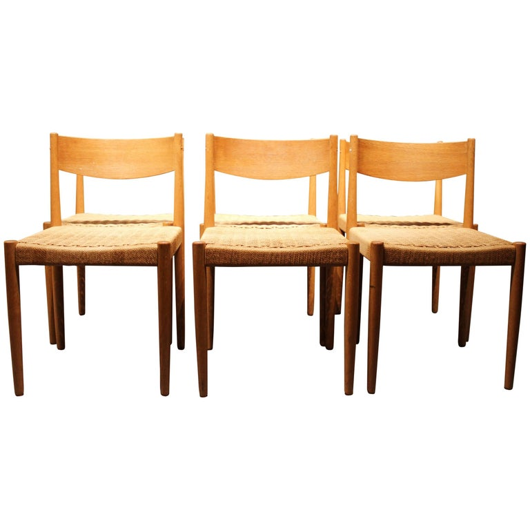 Set of Six Dining Room Chairs in Oak by Poul M. Volther & Frem Røjle, 1960s