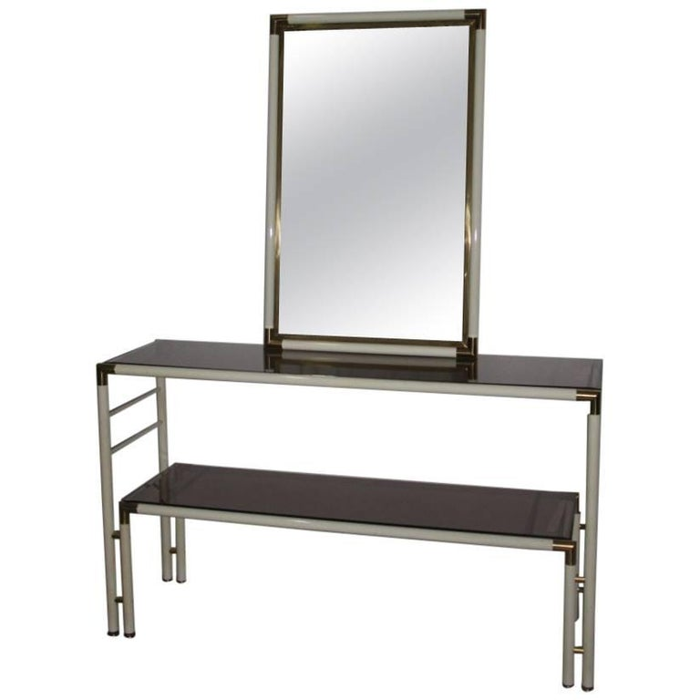 Lacquered Metal and Brass Italian Particular Console with Mirror