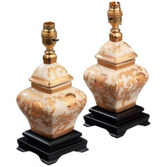 Pair of 20th Century Clobbered Crackle Ware Lamps