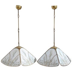 Pair of Very Elegant Brass Chandeliers and Glass, 1970s