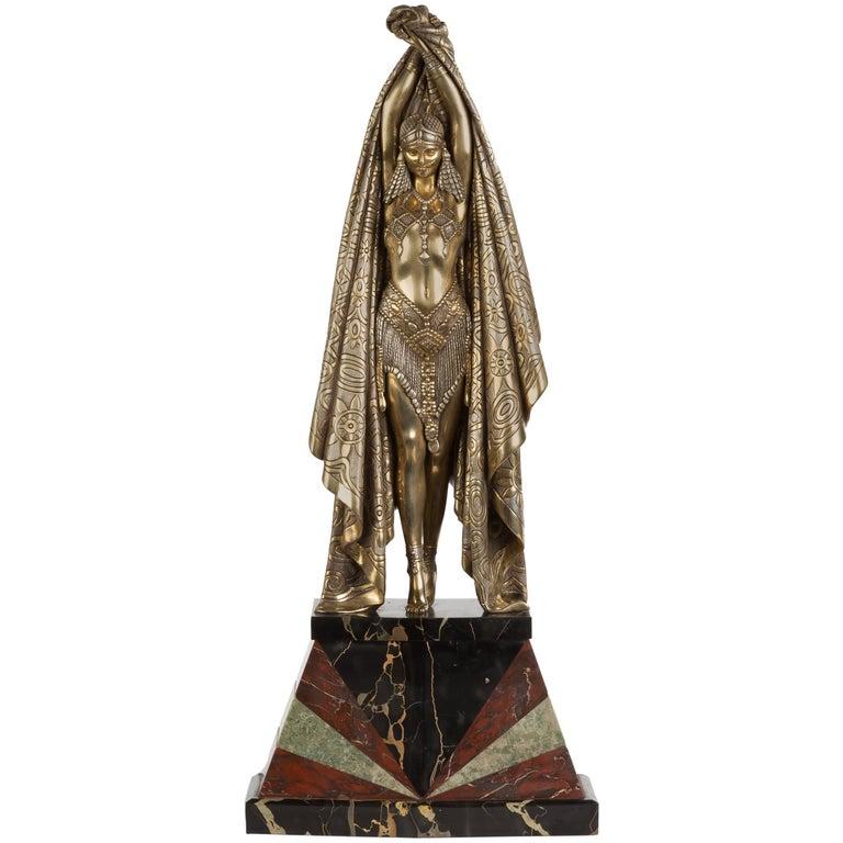 """Demetre Chiparus Art Deco Bronze Sculpture """"Antinea"""", circa 1925 For Sale"""