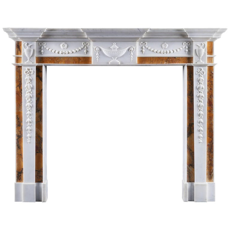Antique George III Irish Neoclassical Fireplace Mantel For Sale